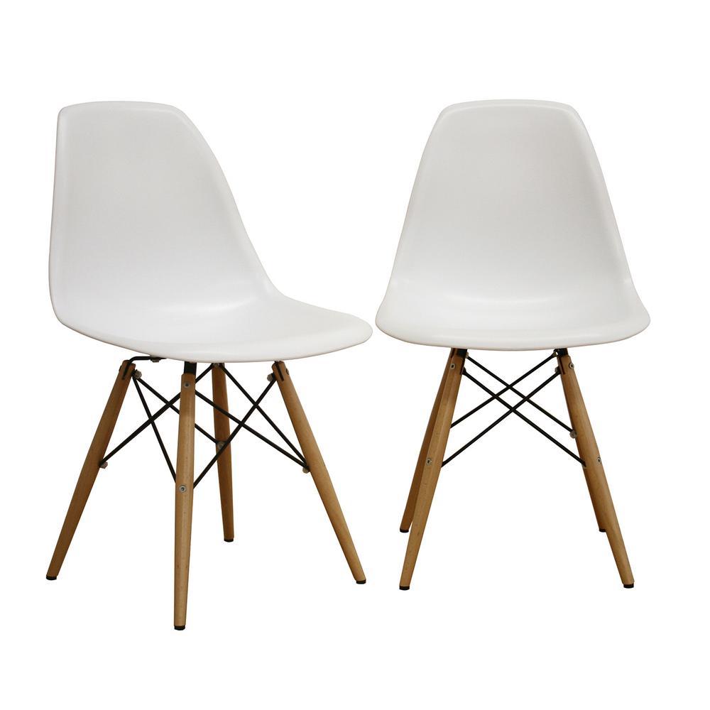 Baxton Studio Azzo White Plastic Dining Chairs Set of 2