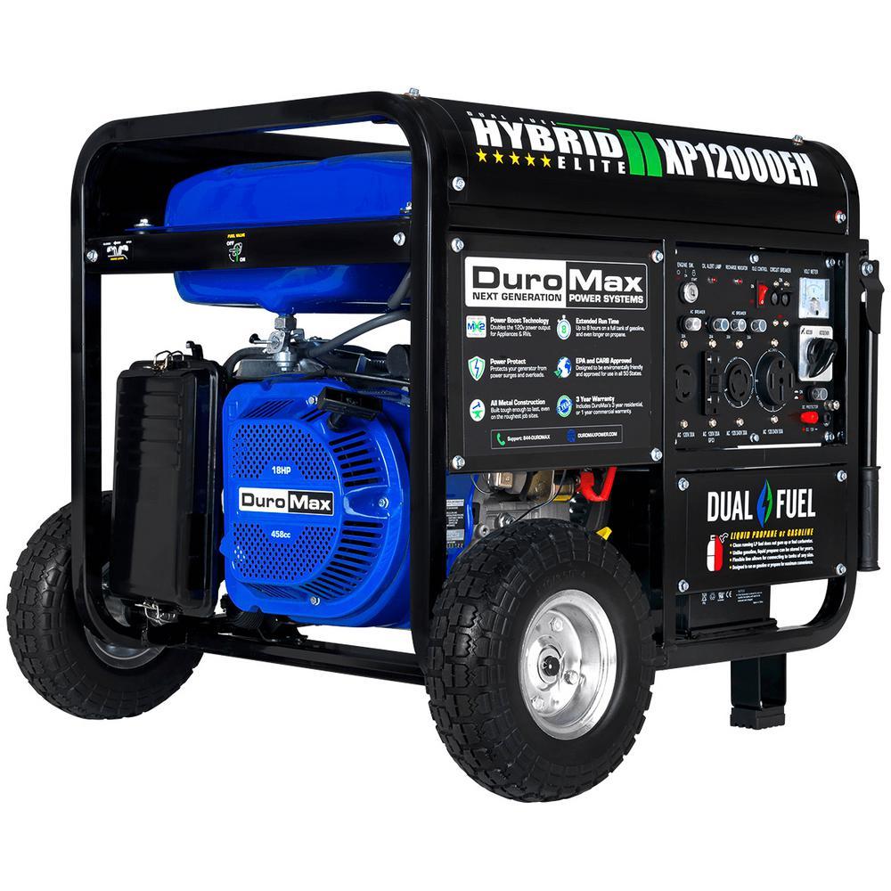 hight resolution of 12000 9500 watt 18 hp dual fuel powered portable hybrid electric start gasoline propane generator