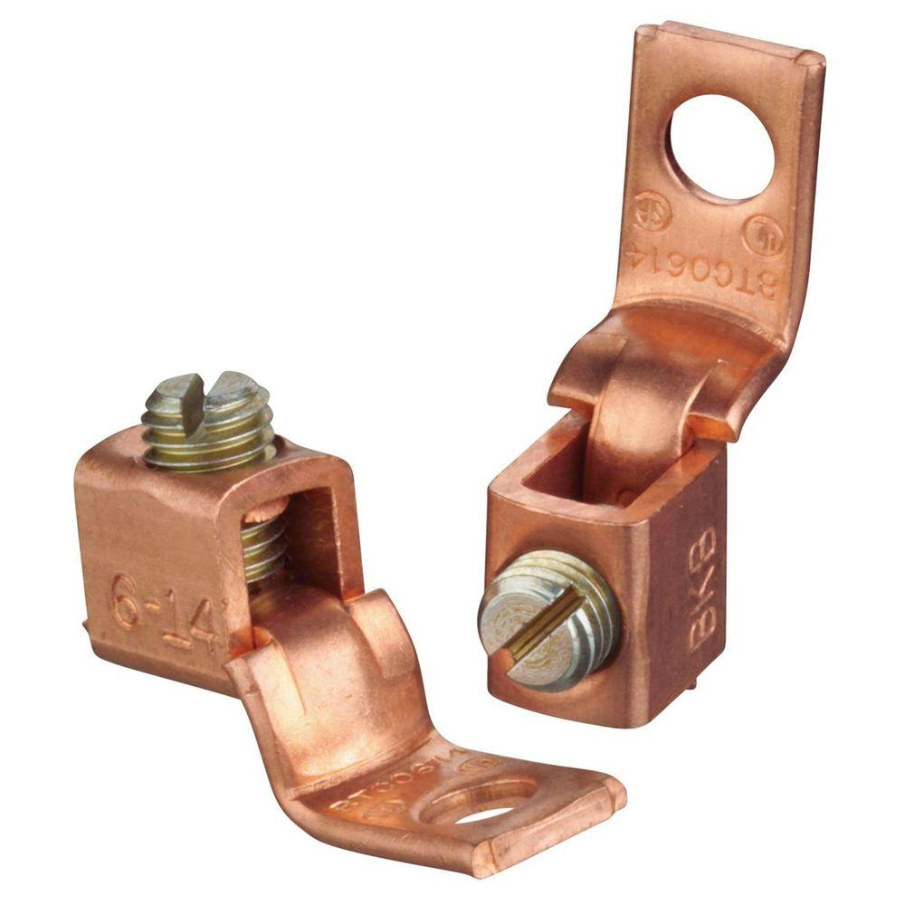 hight resolution of copper mechanical wire connector 6 stranded to 14 awg with single hole mount 10