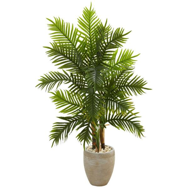 Natural Indoor 5 Ft. Areca Palm Artificial Tree In Sand Colored Planter Real Touch-5650
