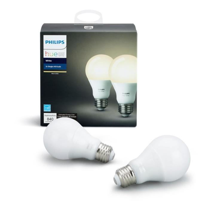 Image result for Philips Hue White A19 4-Pack 60W Equivalent Dimmable LED Smart Bulbs