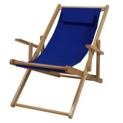 Folding Chairs Wooden Custom Dining Casual Home Natural Frame And Royal Blue Canvas Solid Wood Sling Chair