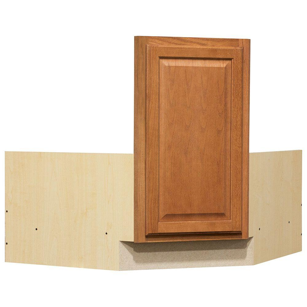 hampton bay hampton partially assembled 36 x 34 5 x 24 in corner sink base kitchen cabinet in medium oak kcsb36 mo the home depot