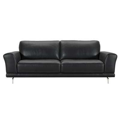 genuine leather sofa and loveseat mainstays futon convertible bed black sofas loveseats living room furniture the armen contemporary with brushed stainless steel legs