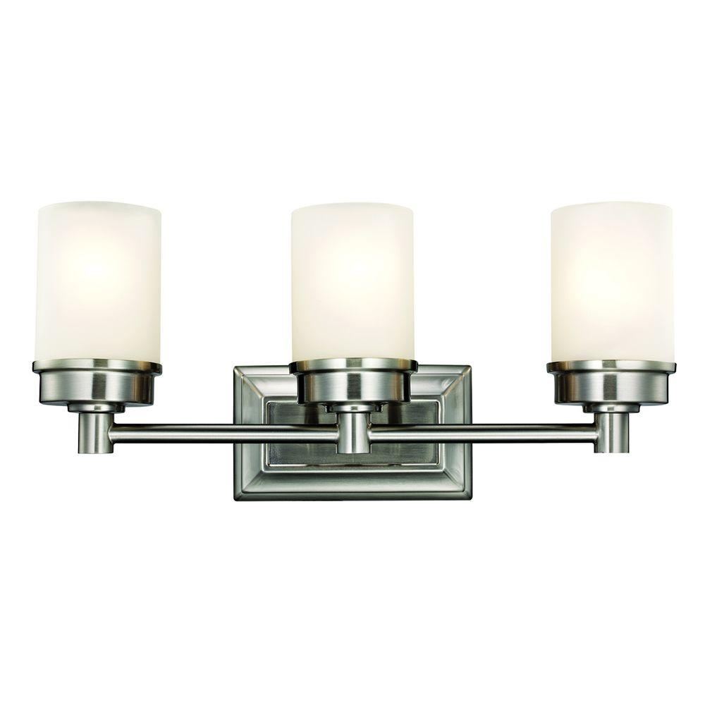 Bathroom Light Fixtures Hampton Bay Cade 3 Light Brushed Nickel Vanity Light With Frosted Glass Shades