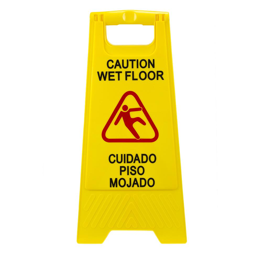 Plastic MultiLingual Yellow 25 in x 12 in Caution Wet