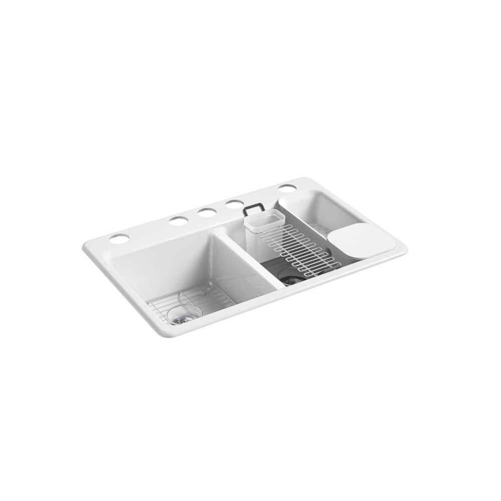 kohler kitchen sink accessories personalized towels riverby undermount cast iron 33 in 5 hole double bowl kit with white