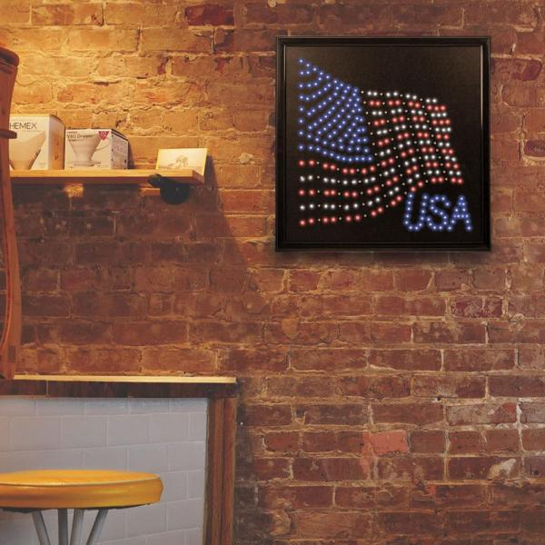Crystal Art Usa American Flag Framed Led Sign