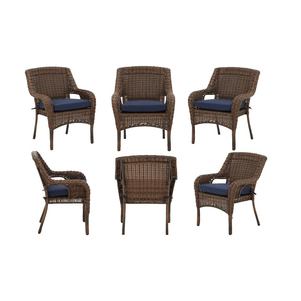 Wicker Outdoor Dining Chairs Hampton Bay Cambridge Brown Stationary Resin Wicker Outdoor Dining Chairs With Blue Cushions Chairs 6 Pack