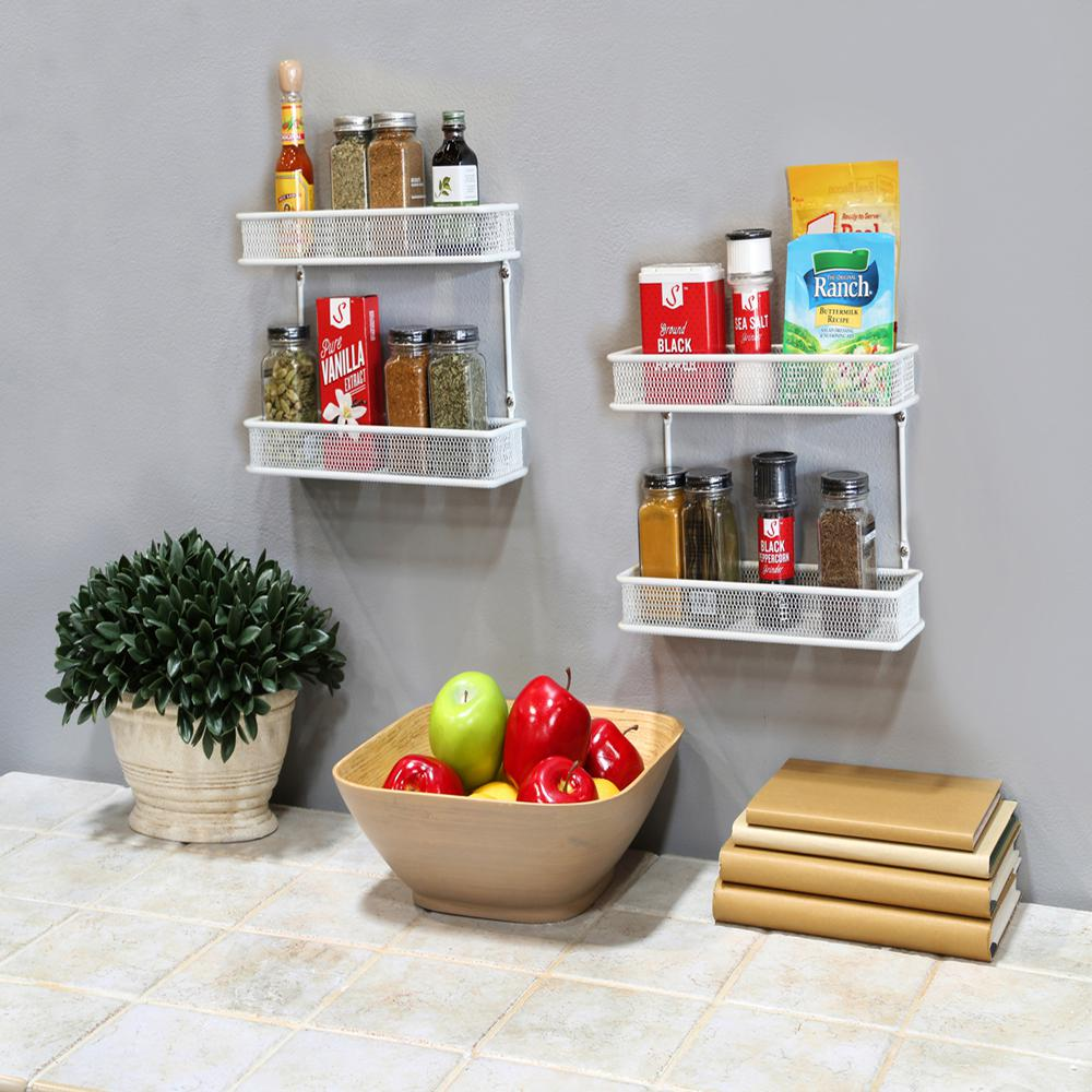 kitchen spice rack hotels with in miami seville classics 2 tier white countertop and wall mount multipurpose organizer