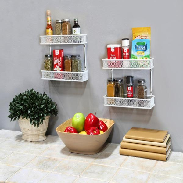 Seville Classics 2-tier White Countertop And Wall Mount