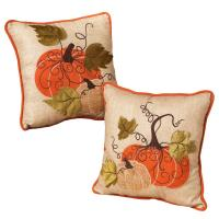 14 in. Fabric Harvest Thanksgiving Pillows (Set of 2 ...