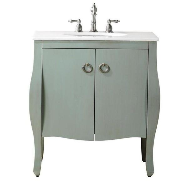 Home Decorators Collection Savoy 31 In W X 22 In D Bath Vanity In Blue With Marble Vanity Top In White With White Sink 10401 Vs30j Bl The Home Depot