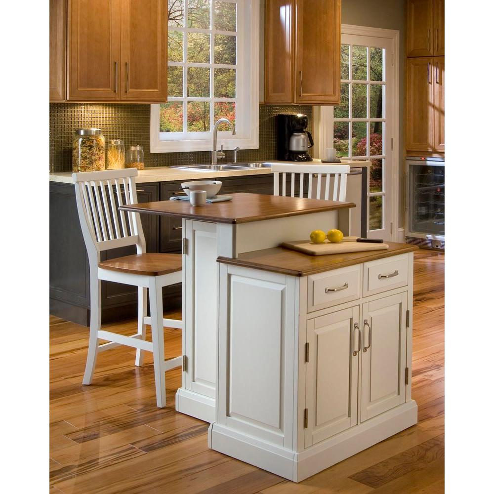 island stools for kitchen table storage home styles woodbridge white with seating 5010 948 the depot