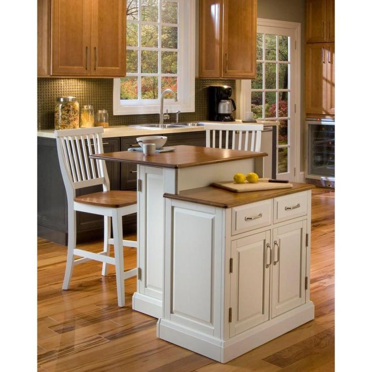 home styles woodbridge white kitchen island with seating-5010-948