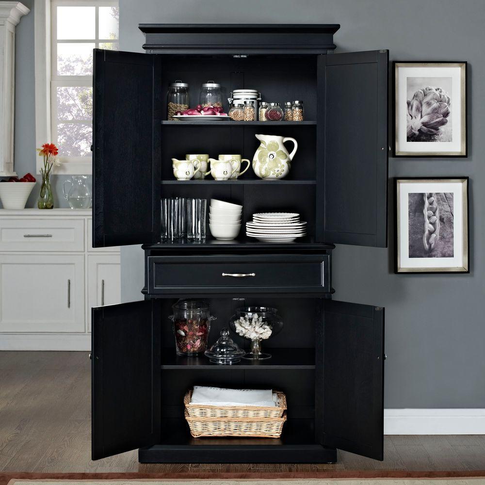 Crosley Parsons Black Storage Cabinet CF3100 BK The Home Depot