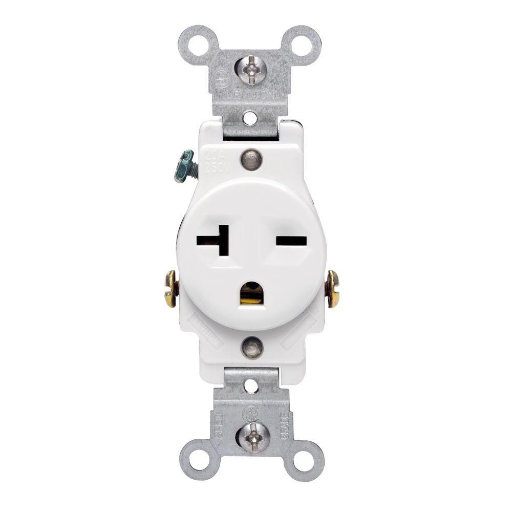 medium resolution of leviton 20 amp commercial grade double pole single outlet white
