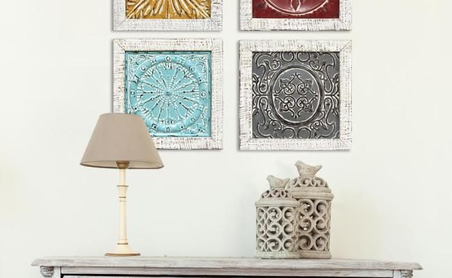 Stratton Home Decor Accent Metal Tile Wall Art Set Of 4