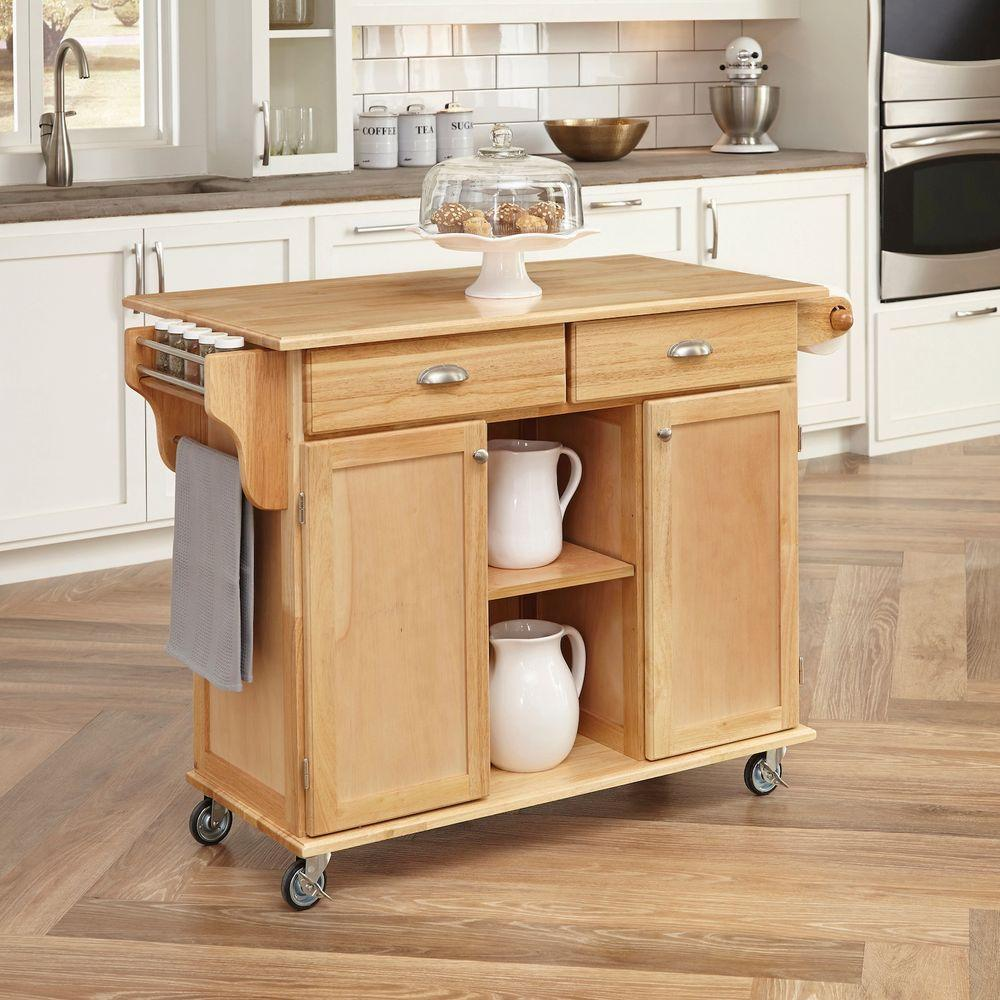Home Styles Napa Natural Kitchen Cart With Storage 5099 95 The