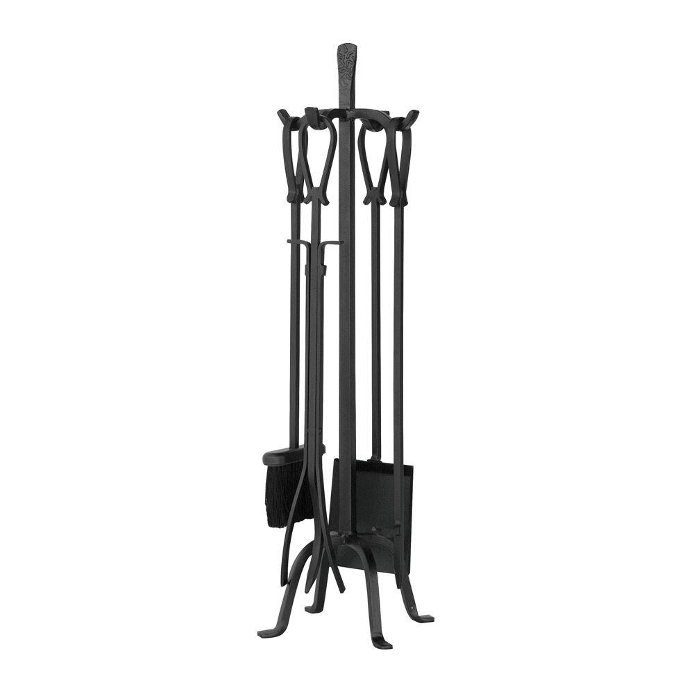 UniFlame Olde World Iron 5Piece Fireplace Tool Set with Loop HandlesF1183  The Home Depot