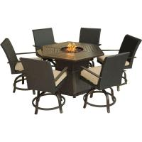 Hanover Aspen Creek 7-Piece Patio Fire Pit Dining Set with ...