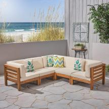 Noble House Jonah Teak 5-piece Wood Outdoor Sectional With