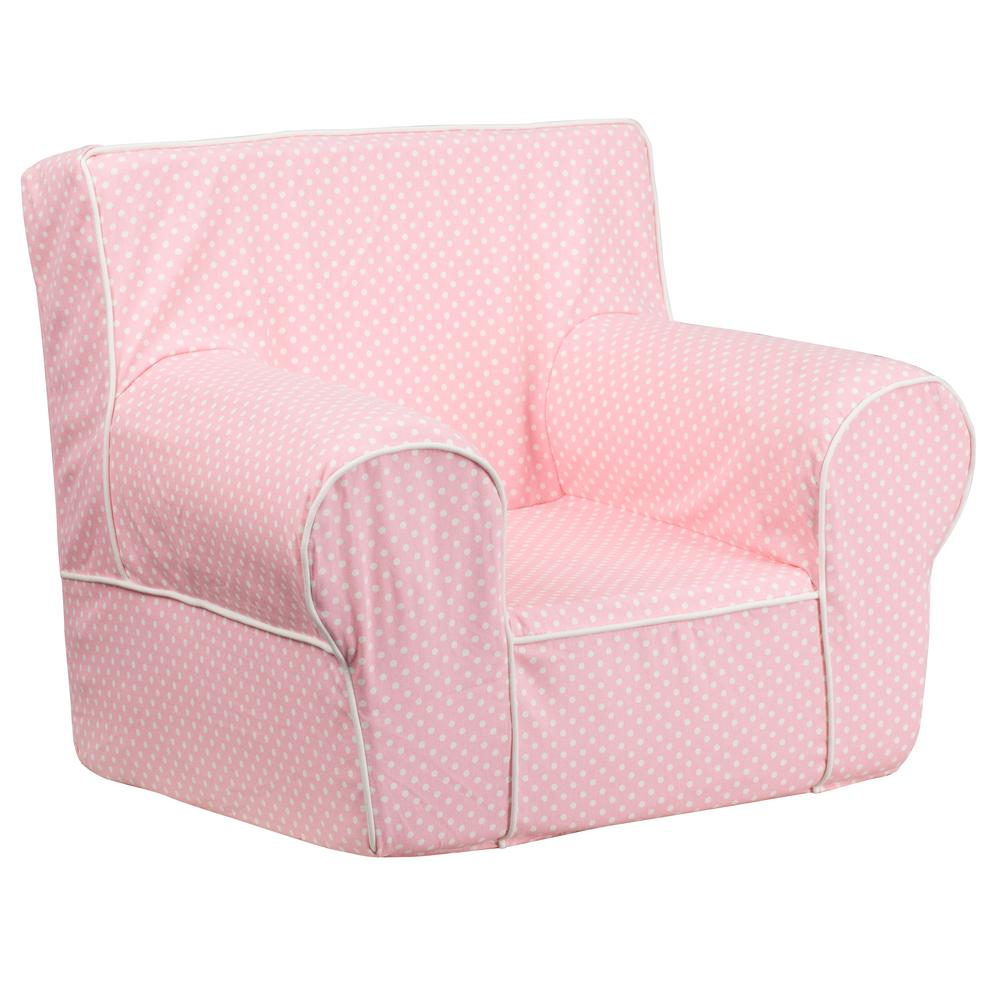Small Club Chair Flash Furniture Small Light Pink Dot Kids Chair With White Piping