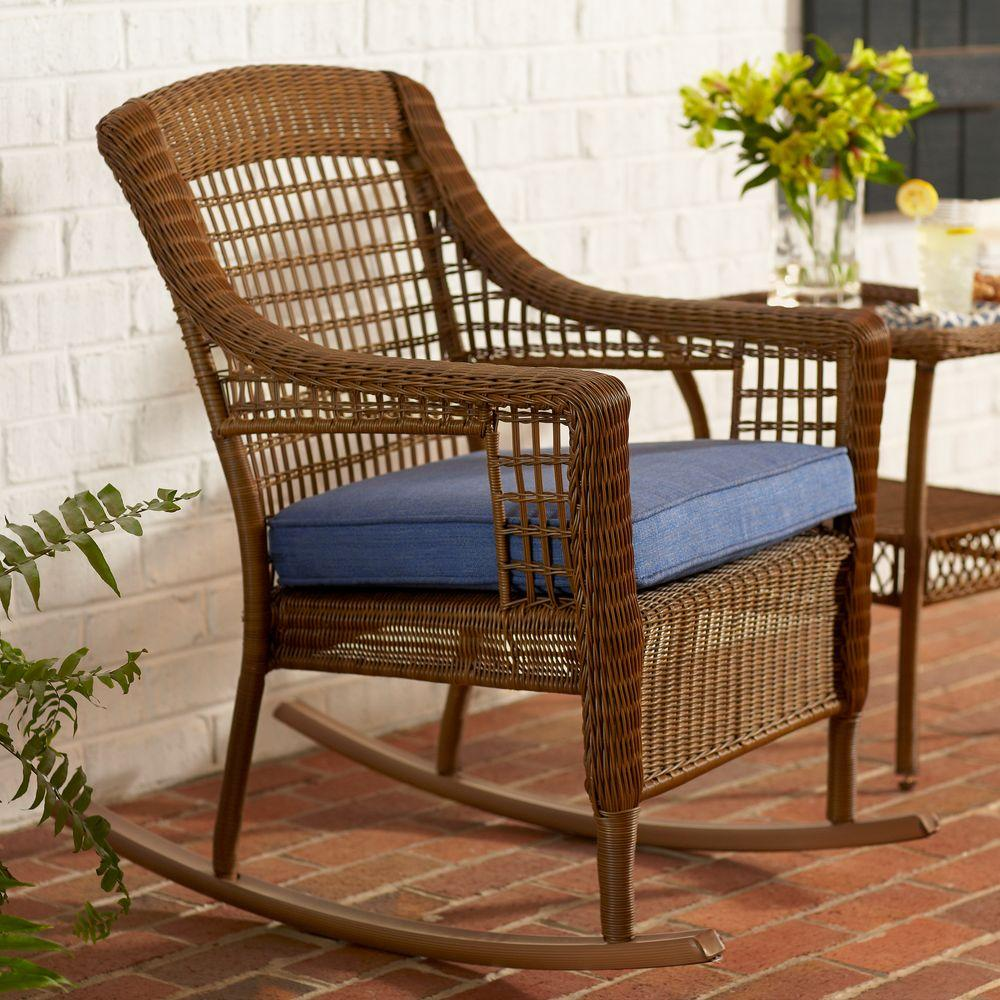 Spring Chair Hampton Bay Spring Haven Brown All Weather Wicker Outdoor Patio Rocking Chair With Sky Blue Cushion
