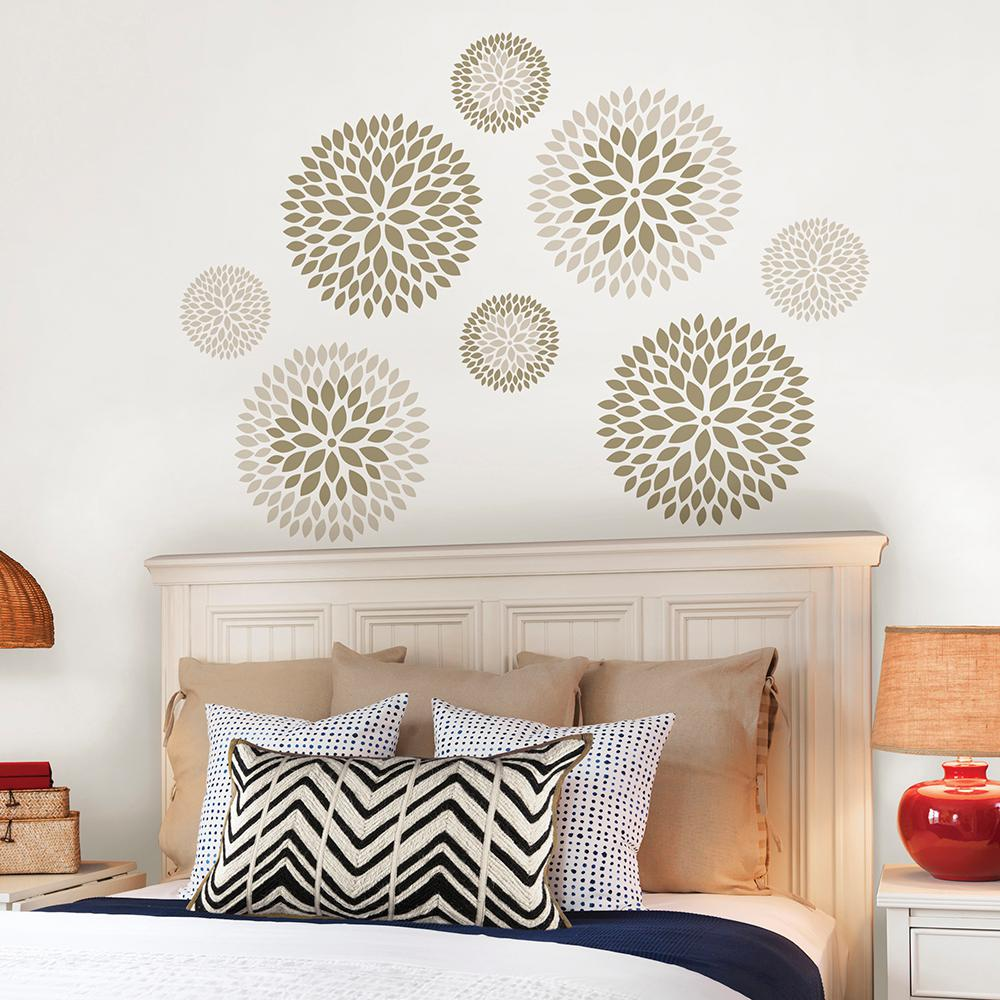 wallpops neutral chrysanthemum wall decal wpk the home depot