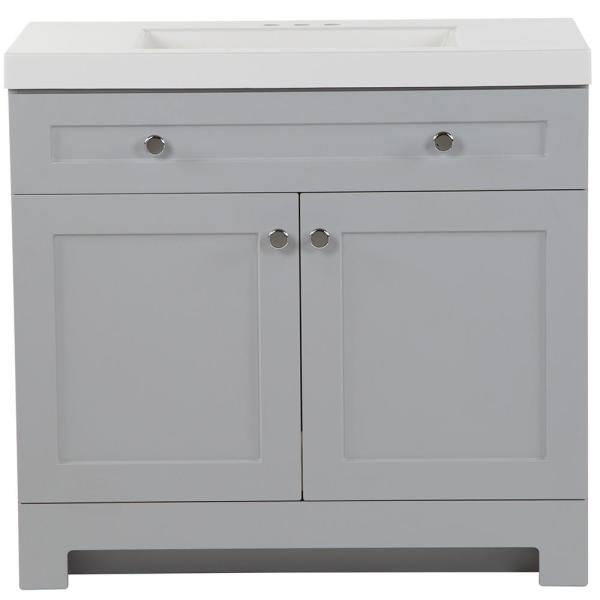 Glacier Bay Everdean 36 5 In W X 19 In D X 34 In H Vanity In Pearl Gray With Cultured Marble Vanity Top In White With White Sink Ev36p2 Pg The Home Depot