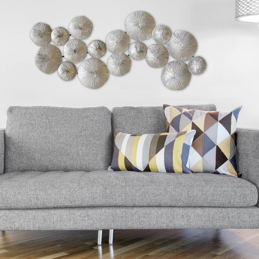 ideas for living room wall art contemporary decor stratton home silver circles metal s03905 the
