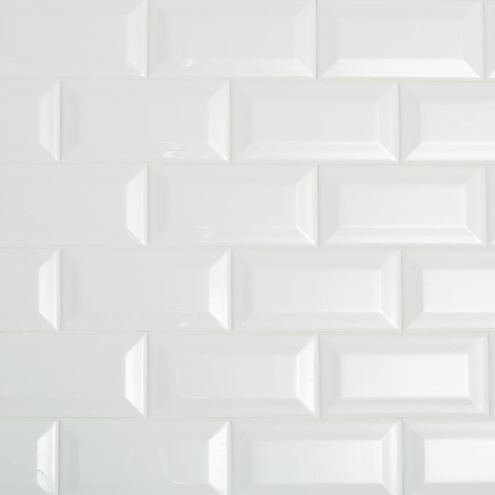 Daltile Restore Bright White 3 In X 6 In Ceramic Bevel Wall Tile 10 Sq Ft Case