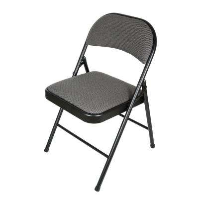 folding metal yoga chair balance ball with arms tables chairs furniture the home depot deluxe fabric black grey padded