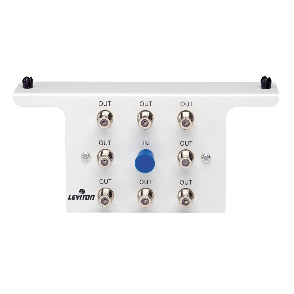 hight resolution of leviton structured media 1x8 8 way 2 05ghz white passive video structured wiring 8 port cable tv antenna system splitter module
