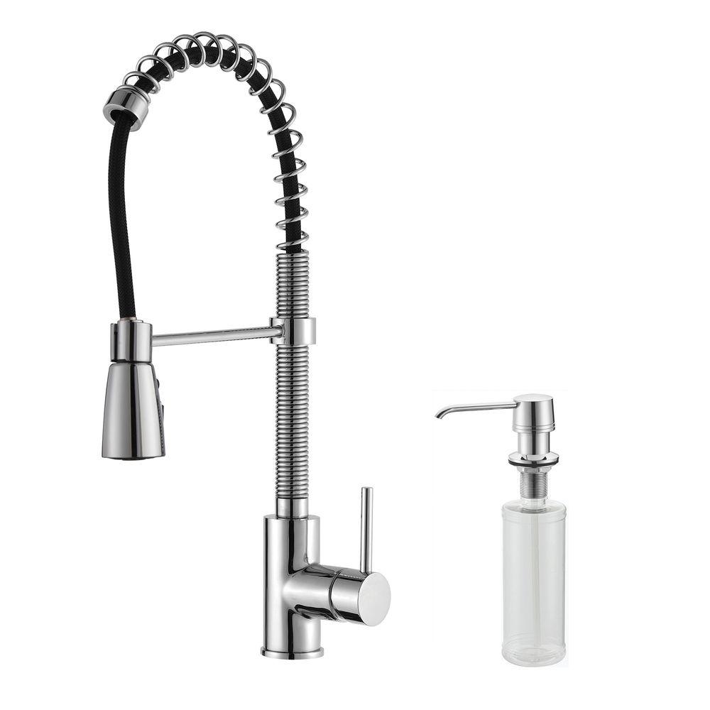 kraus kitchen faucet diy refacing cabinets commercial style single handle pull down with three function