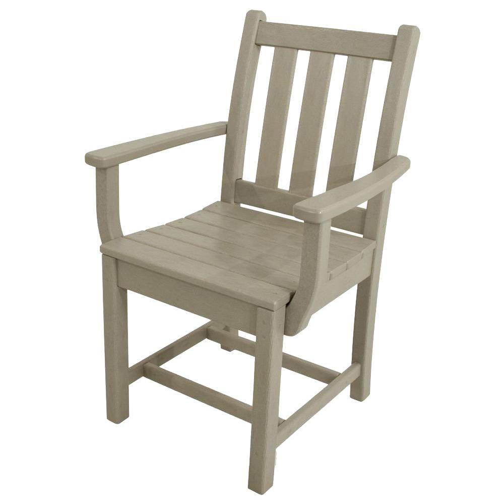 all weather garden chair rolling desk cover polywood traditional sand plastic outdoor dining arm