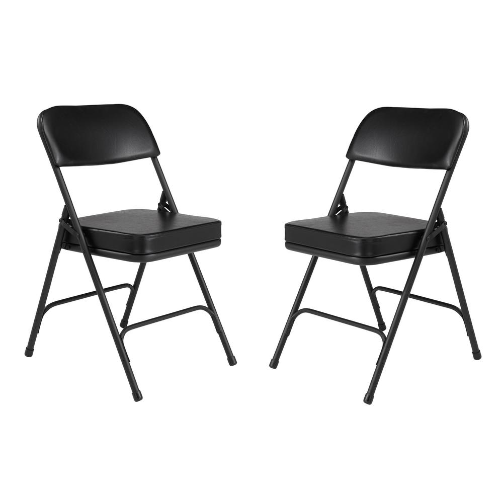 Soft Folding Chairs National Public Seating 3200 Series Premium 2 In Vinyl Upholstered Double Hinge Folding Chair Black Pack Of 2