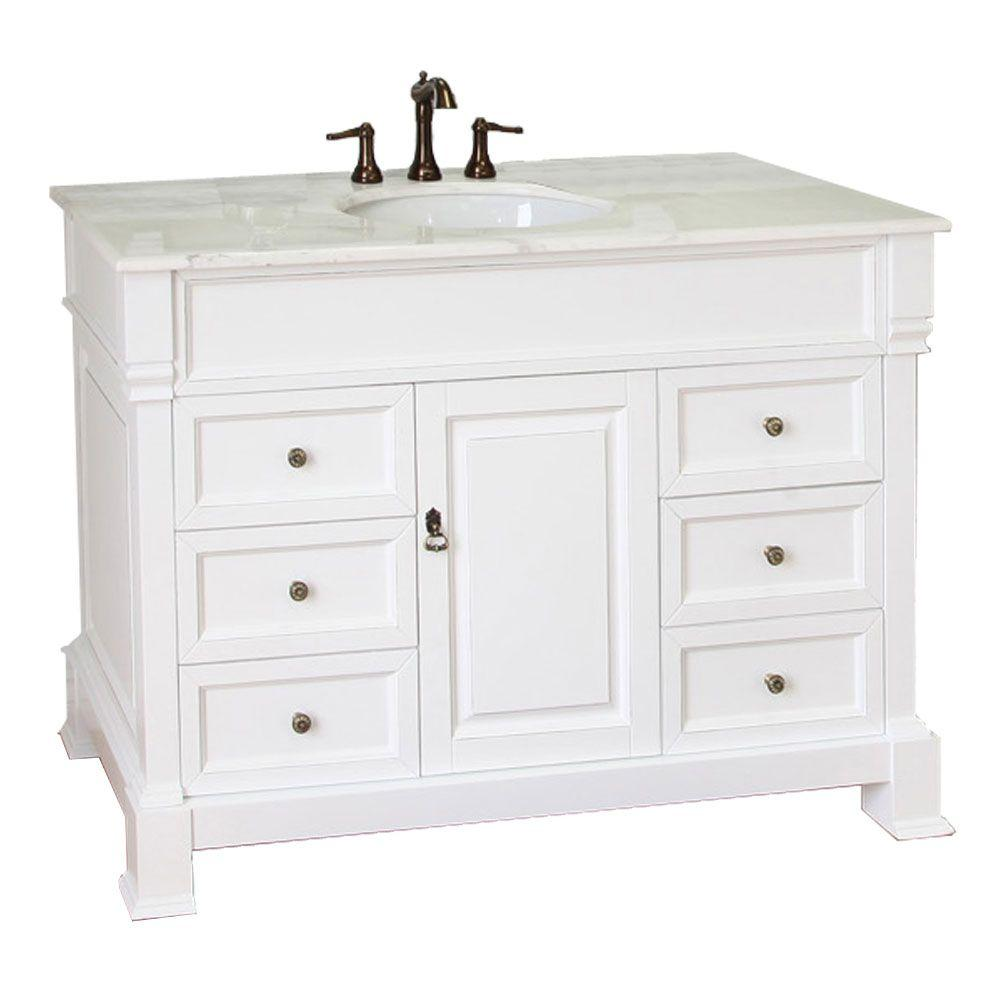 Bellaterra Home Olivia 50WH 50 in Single Vanity in White with Marble Vanity Top in White205050