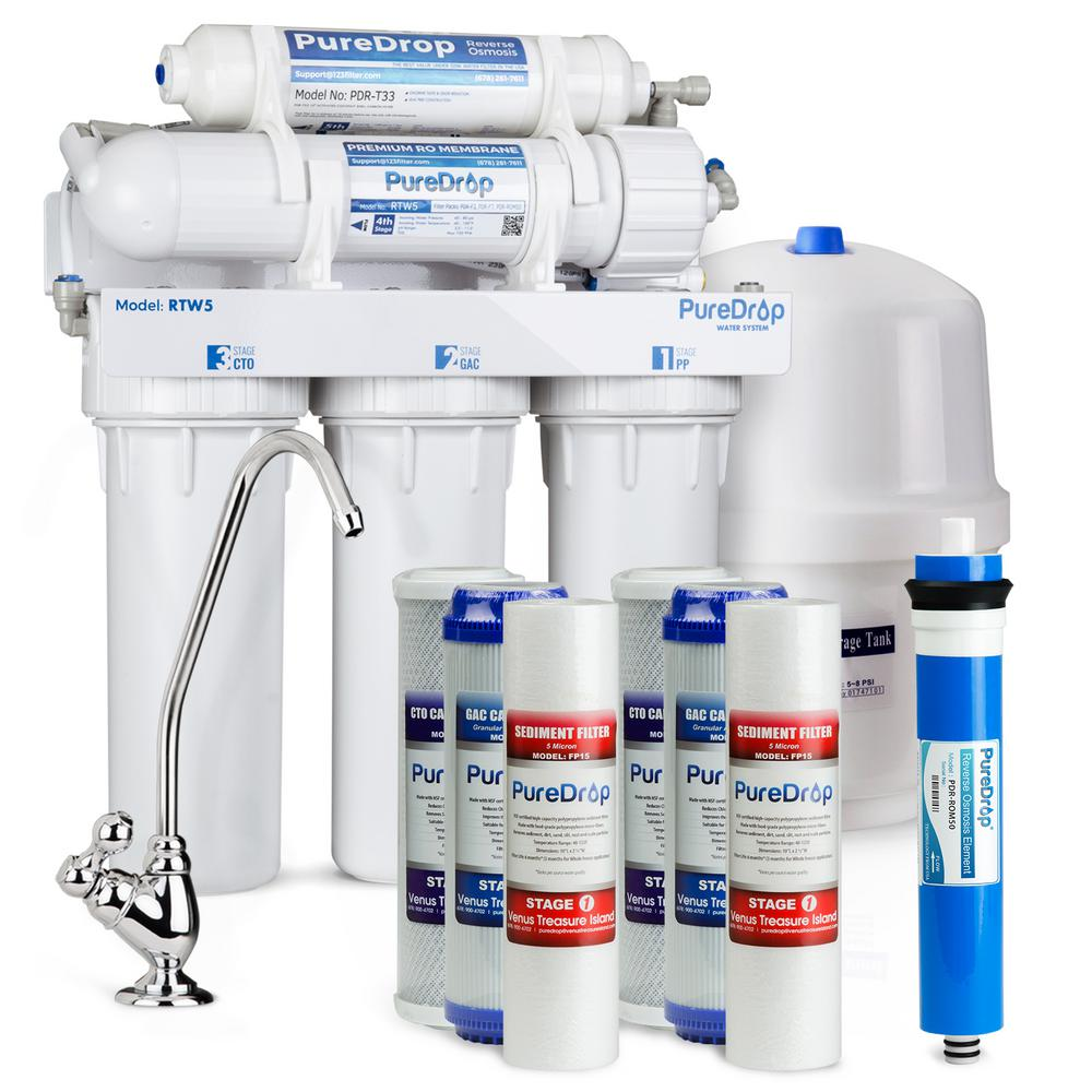 medium resolution of puredrop 5 stage reverse osmosis water filtration system with pre filter kit