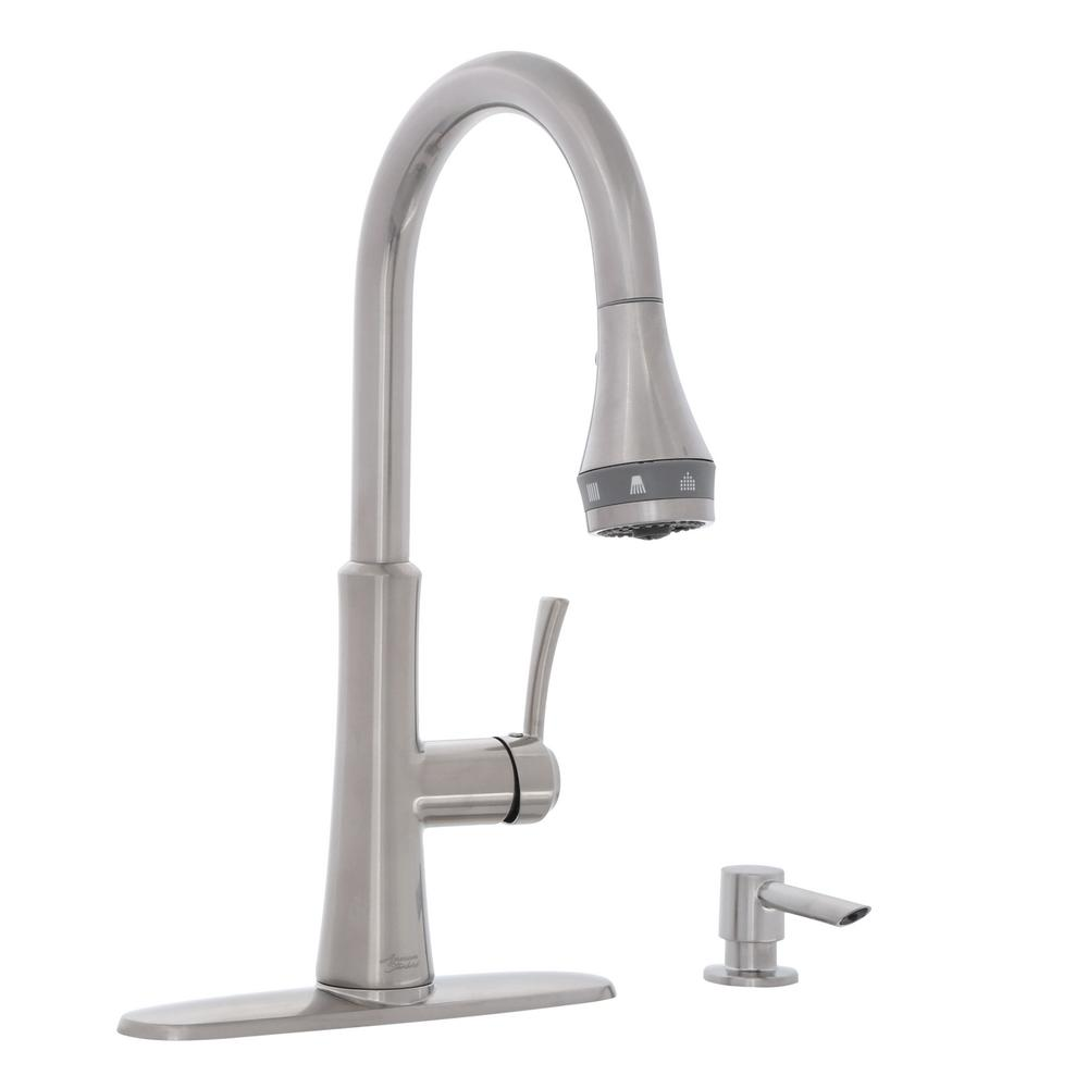 stainless steel kitchen faucets 1950 table and chairs american standard huntley selectflo single handle pull down sprayer faucet in