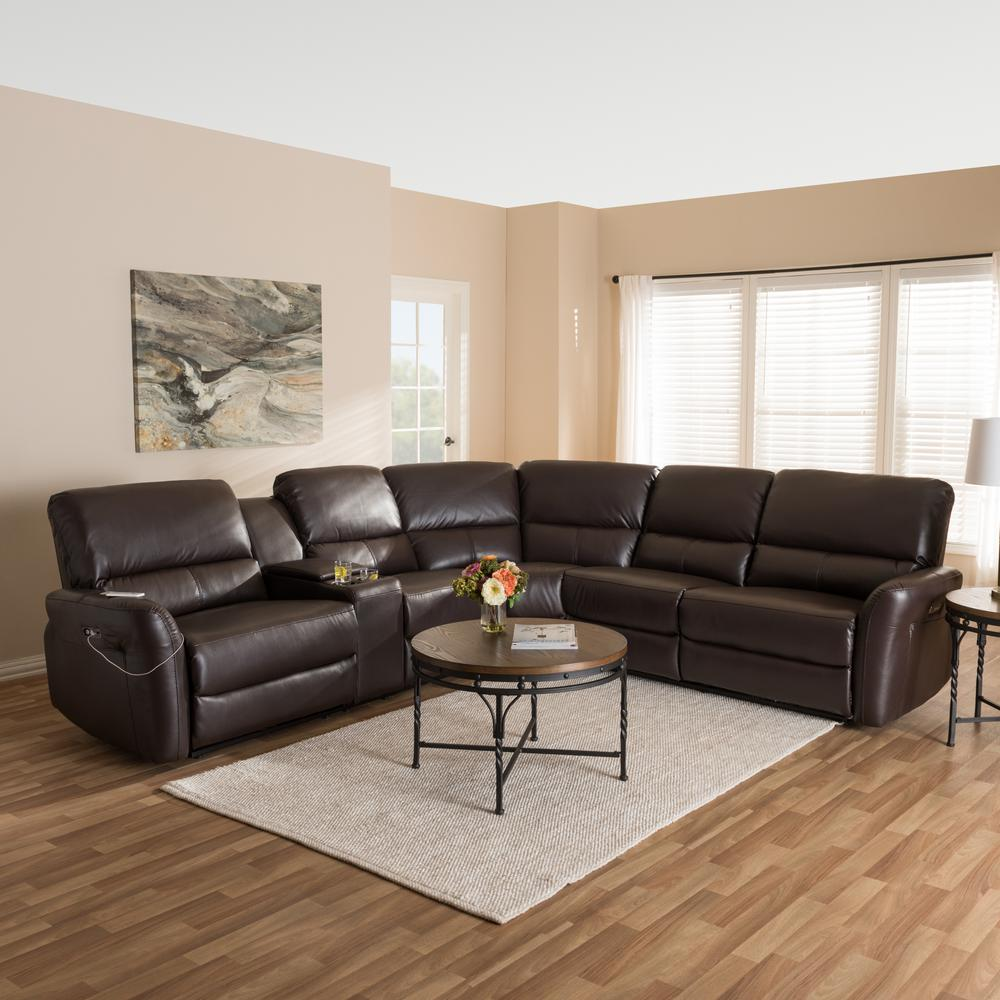 pictures of living rooms with brown sectionals interior design for small room and kitchen baxton studio amaris 5 piece dark leather reclining sectional