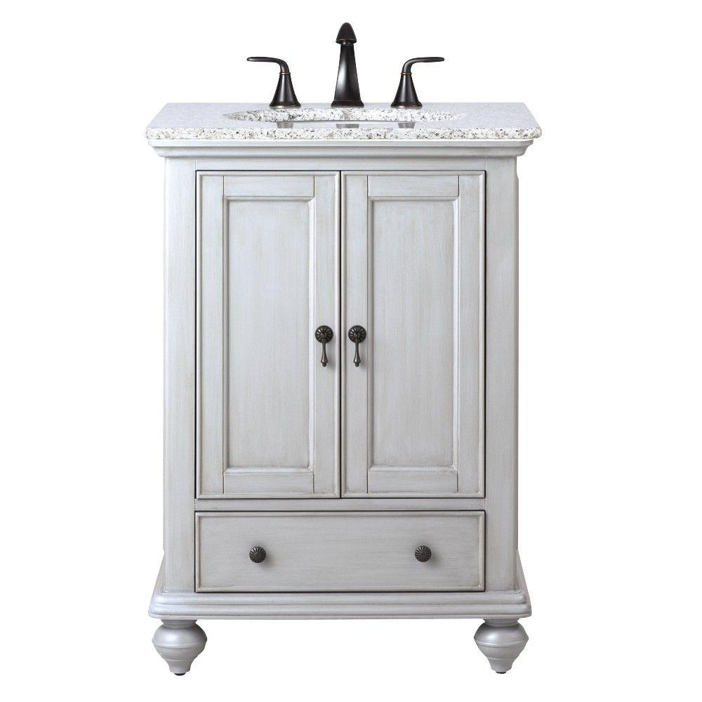 Home Decorators Collection Newport 25 in W x 2112 in D Bath Vanity in Pewter with Granite
