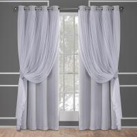 Catarina Cloud Grey Layered Solid Blackout and Sheer ...