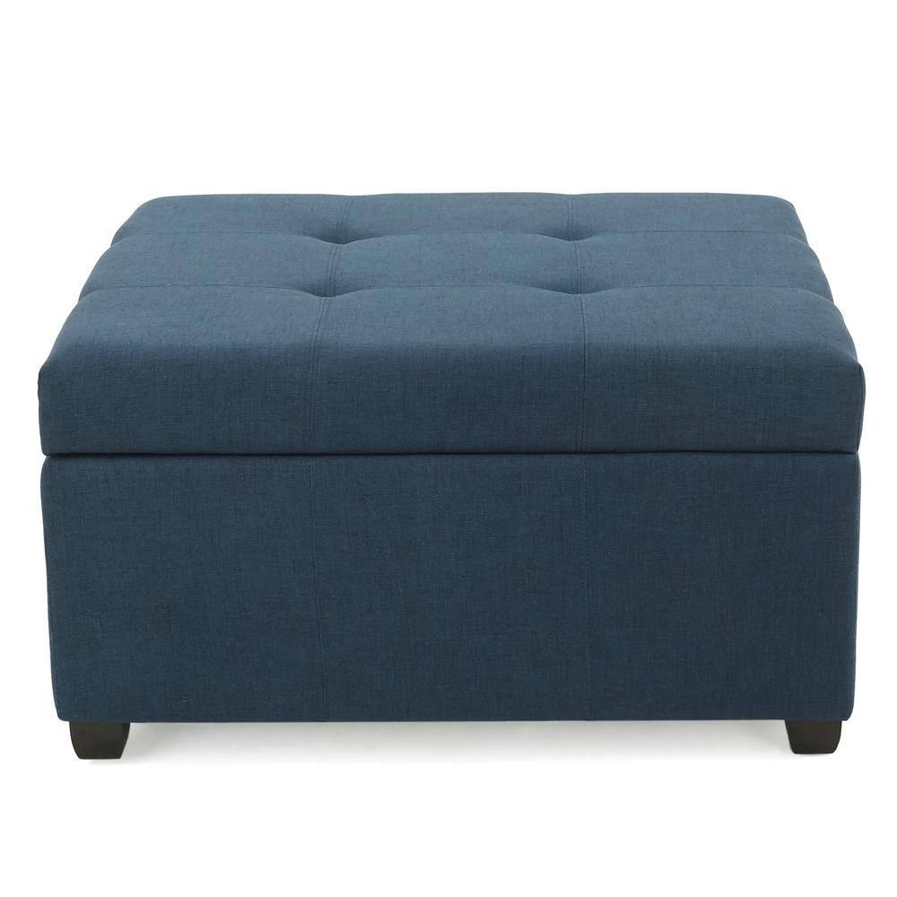 noble house carlsbad dark blue fabric storage ottoman 10314 the home depot