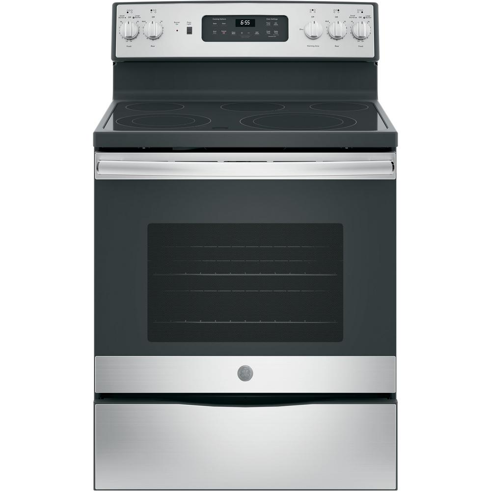 medium resolution of ge 30 in 5 3 cu ft electric range with self cleaning convection oven in stainless steel