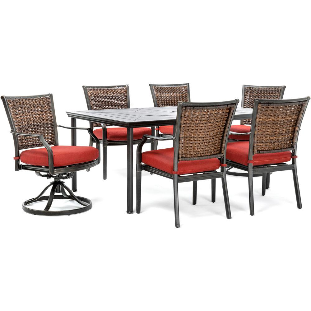 swivel rocker outdoor dining chairs mid century modern set of 4 hanover mercer 7 piece aluminum with crimson red cushions 2 rockers and table