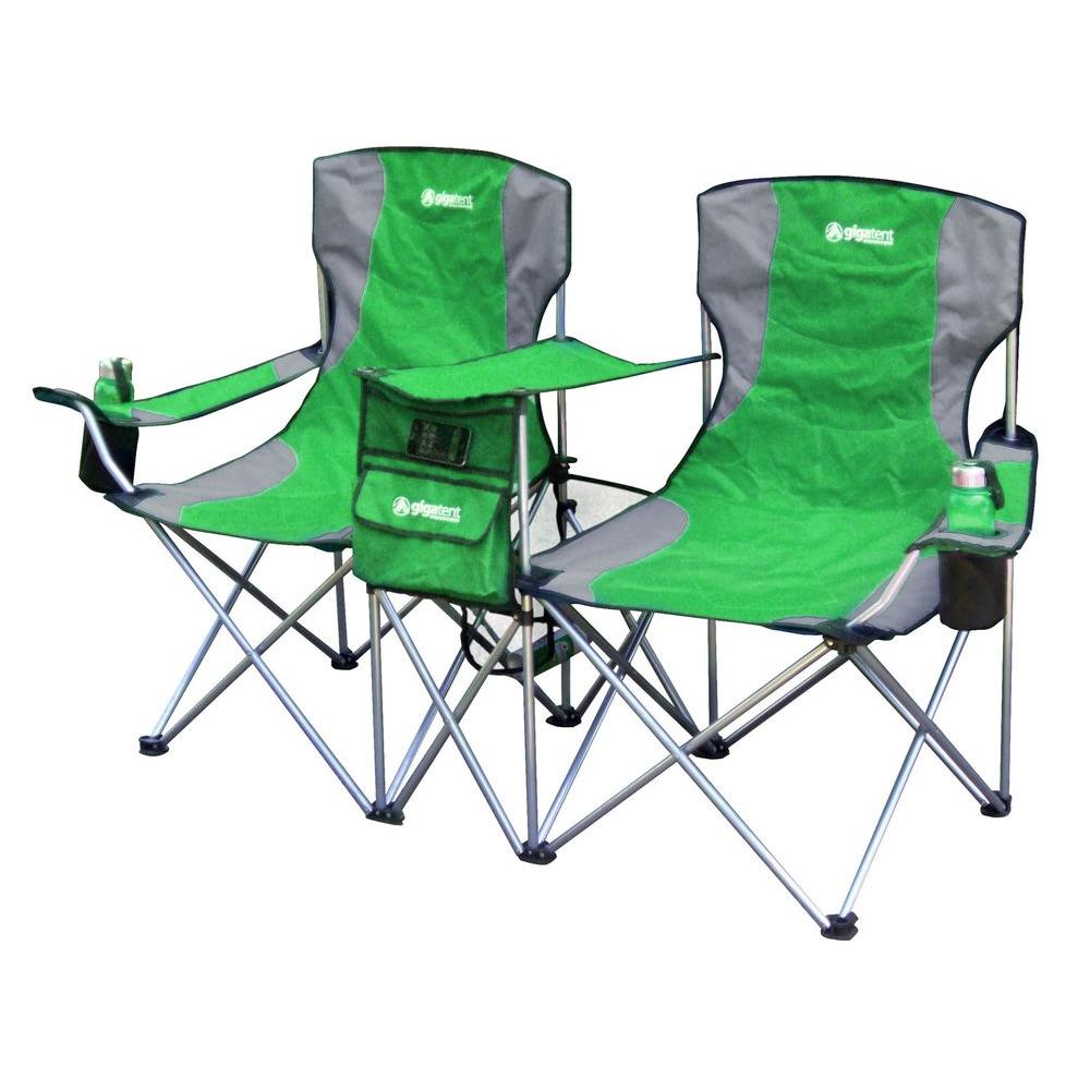 home depot camping chairs rocking chair couch gigatent sit side by double folding padded in green-sbs003 - the