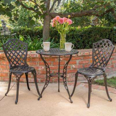 bistro tables and chairs fully reclining beach chair sets patio dining furniture the home depot la sola black with bronze 3 piece metal round outdoor set