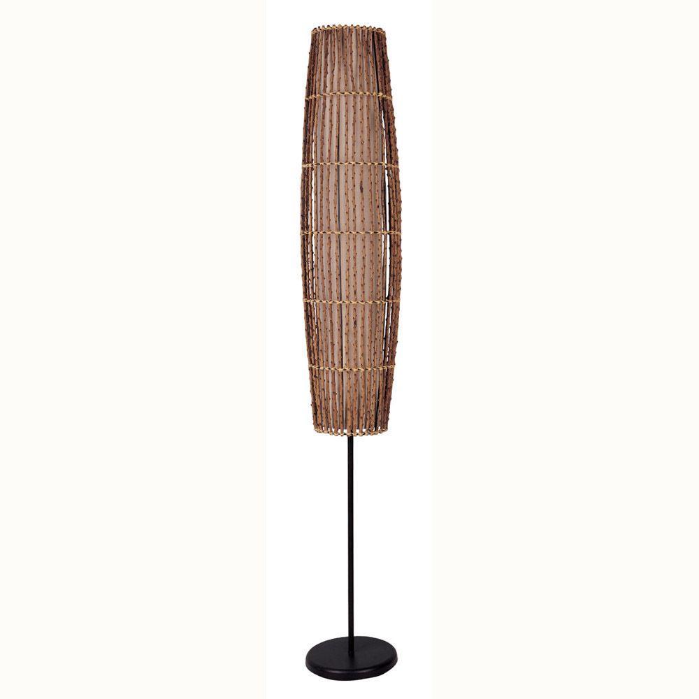 ORE International 62 in. Rattan Natural Floor Lamp