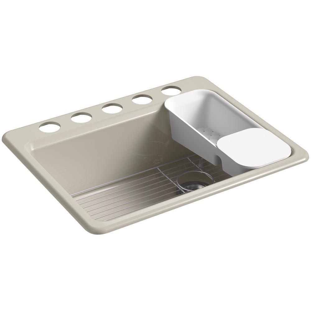 KOHLER Riverby Undermount Cast Iron 27 in 5Hole Single Bowl Kitchen Sink Kit in SandbarK8668